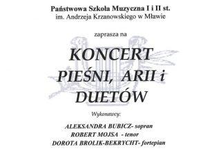 PSM Mława. Koncert pieśni, arii i duetów