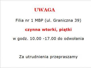 Filia nr 1 MBP im. B. Prusa w Mławie – utrudnienia