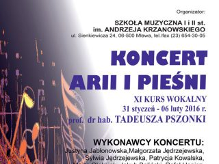 Koncert arii i pieśni w sobotę 6 lutego b.r. – PSM w Mławie zaprasza