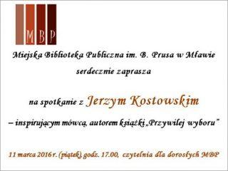 Biblioteka zaprasza na spotkanie z Jerzym Kostowskim