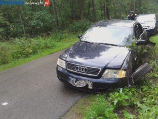 Rozbite Audi w Krajewie
