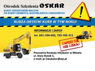Ośrodek Szkolenia OSKAR zaprasza na ostatni w tym roku kurs dla operatorów