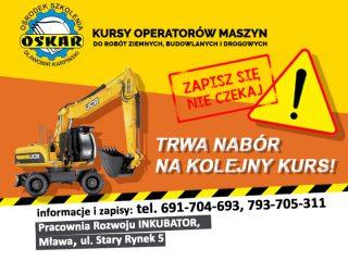 Mława. Ośrodek Szkolenia OSKAR zaprasza na kurs dla operatorów