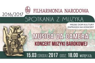 Kameralny koncert świeckiej muzyki barokowej w MDK