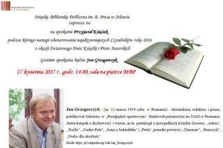 Biblioteka zaprasza. Spotkanie z okazji Światowego Dnia Książki i Praw Autorskich 27. 04
