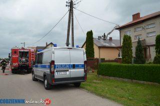 Mława. Pożar domu jednorodzinnego na ulicy Wiśniowej