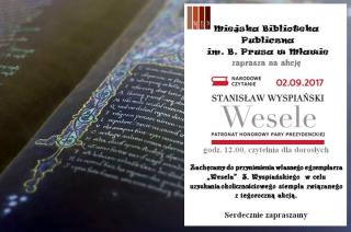 2 września: Biblioteka miejska zaprasza na wspólne czytanie Wesela