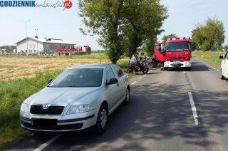 Motocyklista i Skoda Octavia. Kolizja w Szydłówku