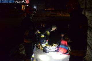 Strażacy uratowali mężczyznę przed utonięciem na zamarzniętym stawie