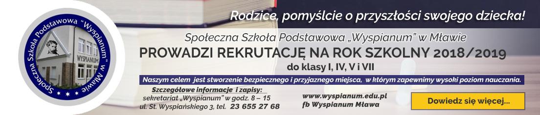 Społeczna Szkoła Podstawowa Wyspianum Mława rekrutacja