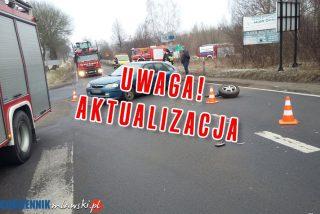 AKTUALIZACJA: Zderzenie na skrzyżowaniu koło wieży. 1 osoba ranna – policja apeluje o ostrożność