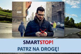 """Na drogach powiatu trwa akcja  """"SMARTSTOP"""" – PATRZ NA DROGĘ"""