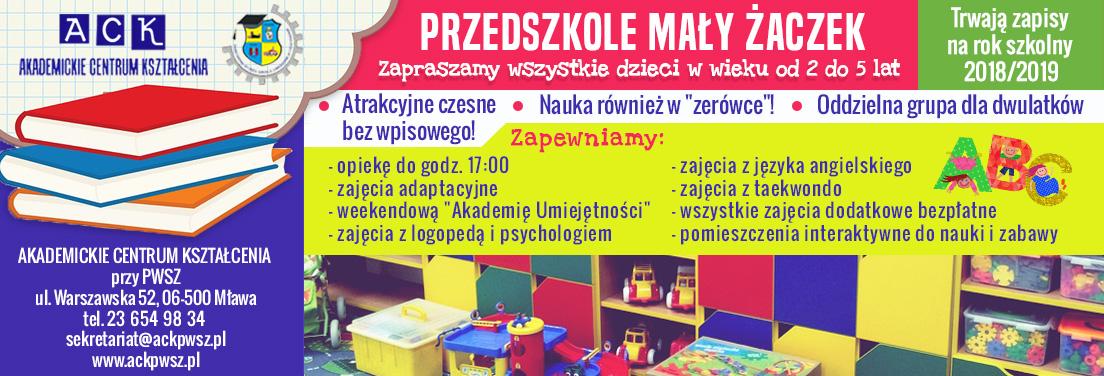 Przedszkole Mały Żaczek ACK Mława nabór na rok 2017/2018