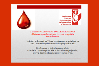Serdeczne życzenia dla wszystkich honorowych krwiodawców