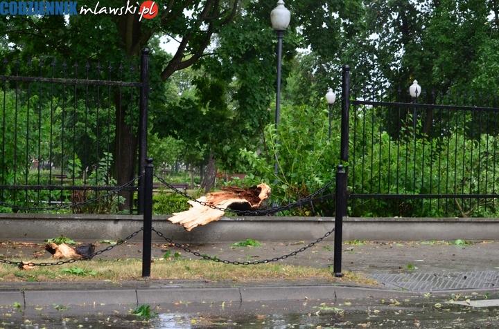 Mława powiat mławski wichura 21.06 burza burze po burzy nawałnica zniszczenia połamane drzewa w parku park zerwane dachy