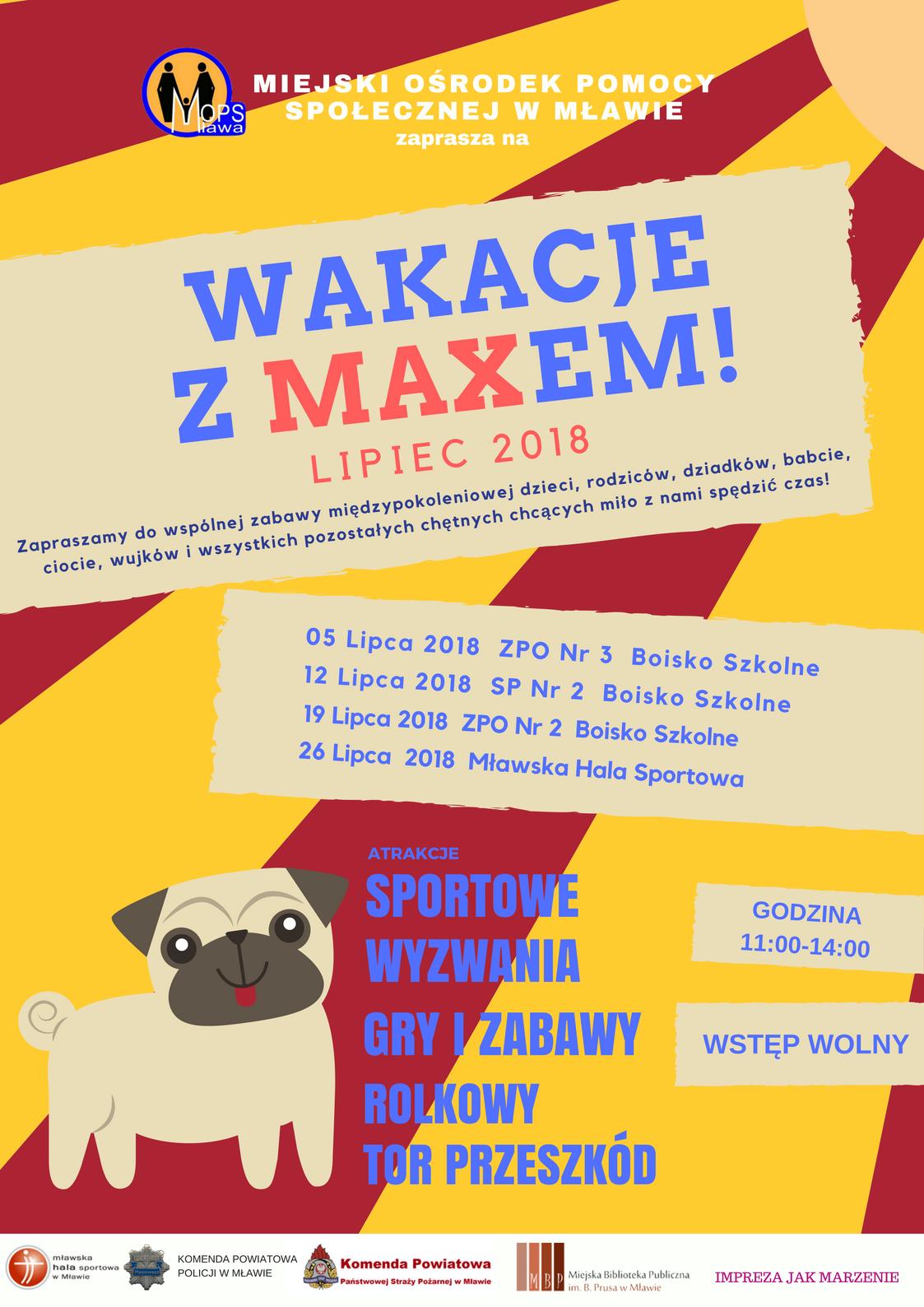 Wakacje z Maxem 2018 zajęcia wakacyjne Mława harmonogram program grafik spotkania z Maxem wakacje Mława 2018 MOPS Mława