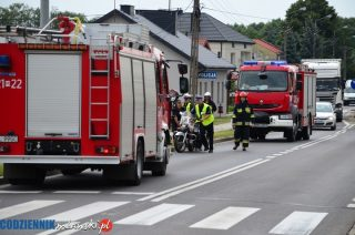 Wypadek motocyklistki w Szydłowie