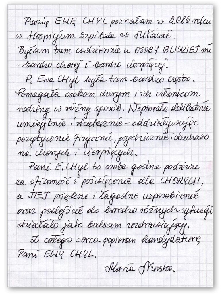 Ewa Małgorzata Chyl kandydatka do Rady Powiatu Mławskiego - świadectwo Maria Nurska