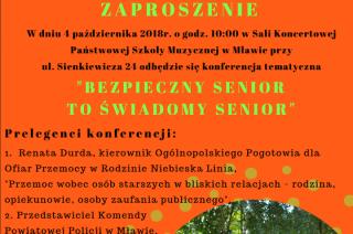 """4 października rusza kampania """"Bezpieczny senior to  świadomy senior"""""""