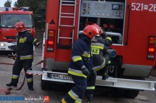 Strażacy gaszą pożar zboża w Dąbrowie