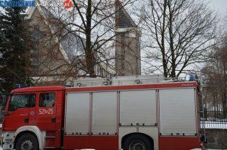 Zgłoszenie o pożarze wieży kościoła na Wólce