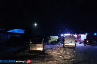 5 jednostek straży na stacji paliw w Wiśniewie