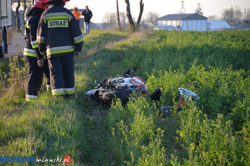 AKTUALIZACJA: Wypadek motocyklisty w okolicy Miączyna