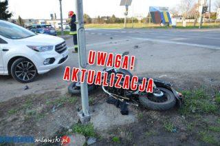 AKTUALIZACJA: Wypadek na skrzyżowaniu Nowowiejskiej z DK 7. Motocyklista poważnie ranny