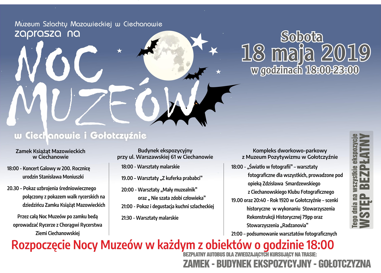 Noc Muzeów 2019 program atrakcje muzea Ciechanów