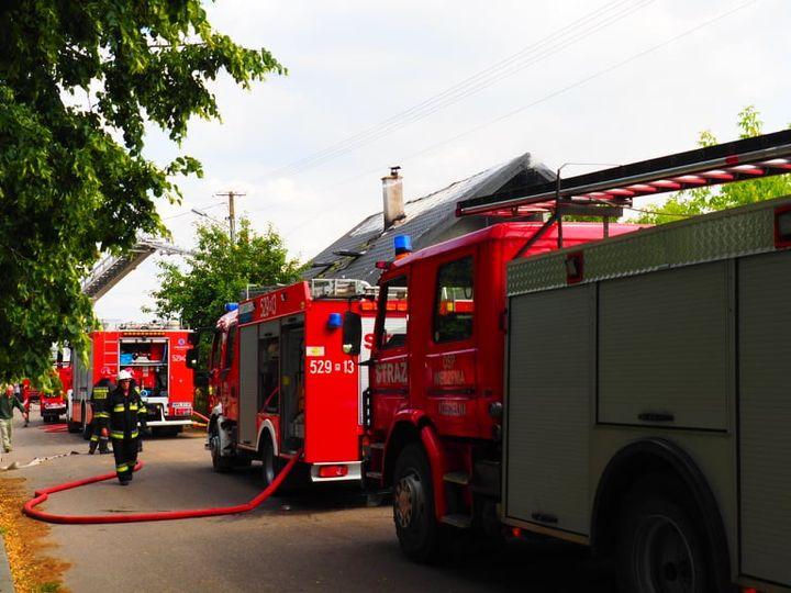 Pożar domu jednorodzinnego w Grzybowie