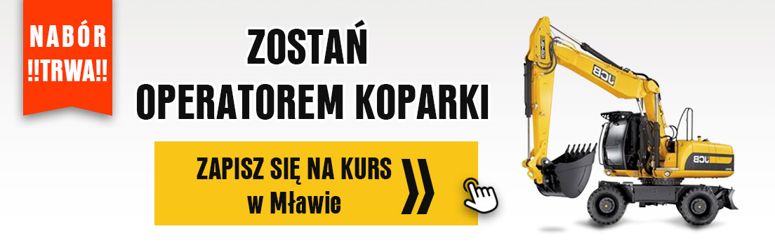 koparki koparko-ładowarki szkolenia kursy egazmina państwowy Mława
