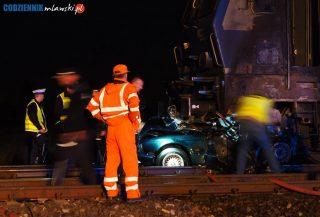 W zmiażdżonym przez pociąg aucie nie było ludzi, ale dwie pasażerki pociągu trafiły do szpitala