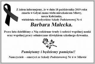 Zmarła Barbara Małecka, wieloletnia wicedyrektor Szkoły Podstawowej nr 6