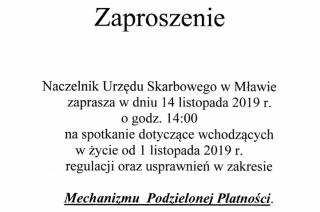 Urząd Skarbowy w Mławie zaprasza przedsiębiorców na spotkanie