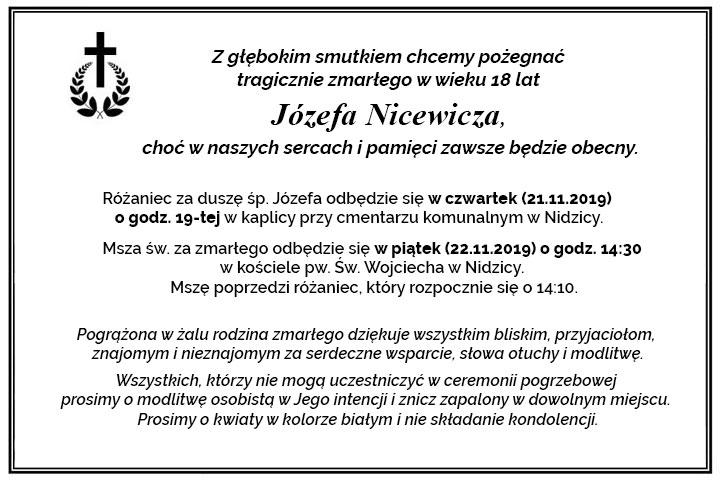 Z głębokim smutkiem chcemy pożegnać tragicznie zmarłego Józefa Nicewicza