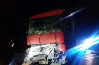 """Zderzenie dwóch ciężarówek na """"siódemce"""" koło Michalinowa"""