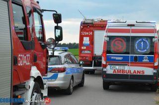 Zderzenie samochodów w Wiśniewie