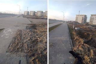 Zabłocona ulica, uszkodzona ścieżka rowerowa
