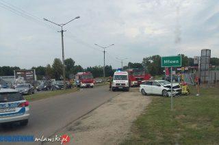 Zderzenie dwóch aut na Płockiej. Są ranni