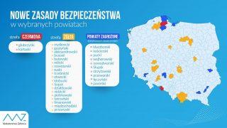 Powiaty działdowski, nidzicki, przasnyski w żółtej strefie