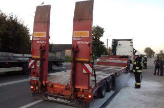 W Uniszkach zapaliła się ciężarówka