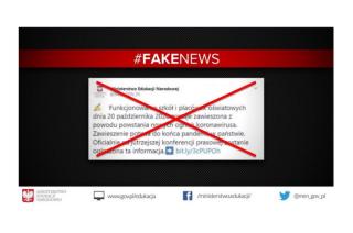 Ministerstwo ostrzega przed fake newsem o zawieszeniu szkół