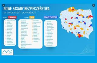 Powiat działdowski w strefie czerwonej, przasnyski i nidzicki w żółtej