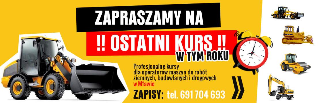 kurs koparki koparkoładowarki wlace drogowy Mława
