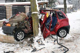 30-latka bez prawa jazdy i nietrzeźwa uderzyła autem w drzewo [foto]