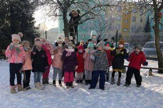 Pierwszaki dokarmiają ptaki zimą [FOTO]