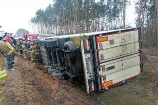 Ciężarówka w rowie między Strzegowem a Glinojeckiem [FOTO]