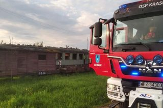 Pożar składu kolejowego w Krasnem