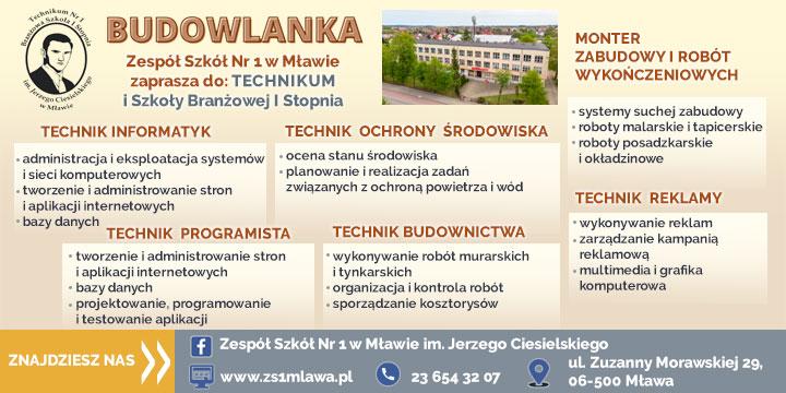 ZS nr 1 Budowlanka Mława rekrutacja