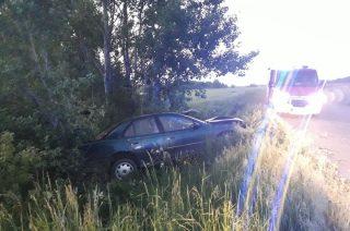 Wola Dębska. Opel w rowie